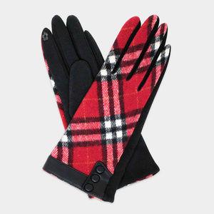 Plaid Accented Detal Gloves